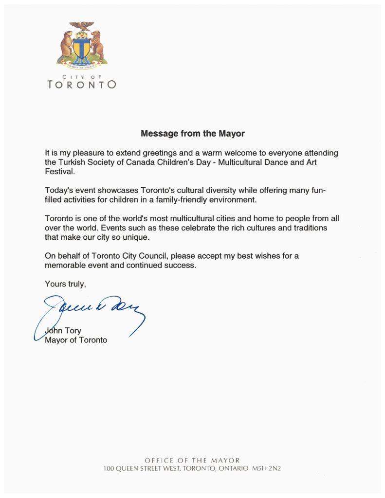 Politikacılardan Mesajlar | Turkish Society of Canada